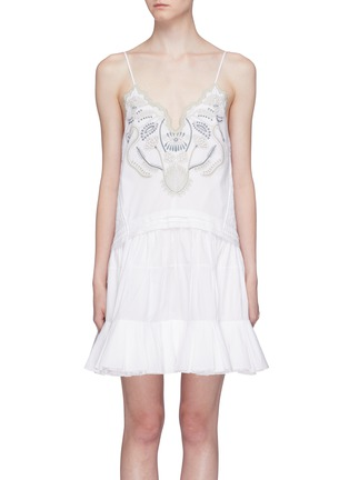 Main View - Click To Enlarge - Chloé - Blossom embroidered ruffle flared dress