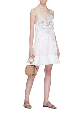 Figure View - Click To Enlarge - Chloé - Blossom embroidered ruffle flared dress