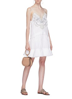 Chloé Blossom embroidered ruffle flared dress