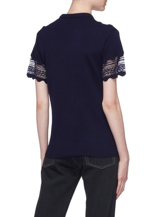 Back View - Click To Enlarge - Chloé - Pleated lace panel wool knit top