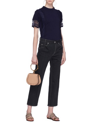 Figure View - Click To Enlarge - Chloé - Pleated lace panel wool knit top
