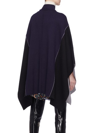 Back View - Click To Enlarge - Chloé - Colourblock wool knit patchwork mock neck cape