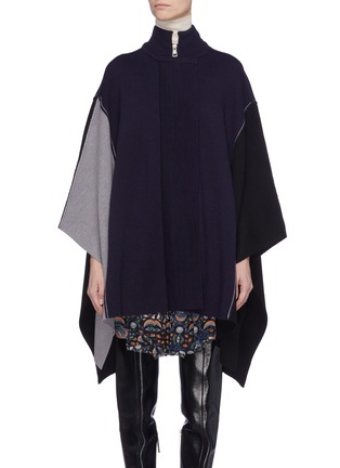 Main View - Click To Enlarge - Chloé - Colourblock wool knit patchwork mock neck cape