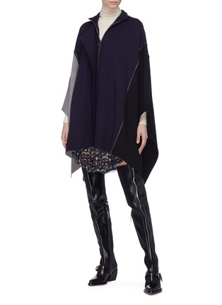 Figure View - Click To Enlarge - Chloé - Colourblock wool knit patchwork mock neck cape
