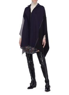 Chloé Colourblock wool knit patchwork mock neck cape