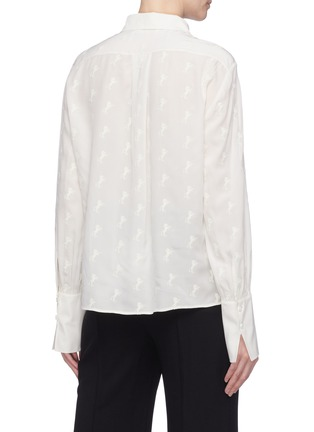 Back View - Click To Enlarge - Chloé - Horse embroidered silk crepe blouse