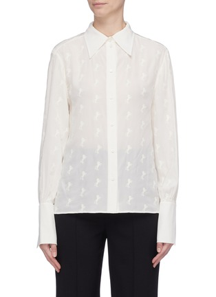 Main View - Click To Enlarge - Chloé - Horse embroidered silk crepe blouse