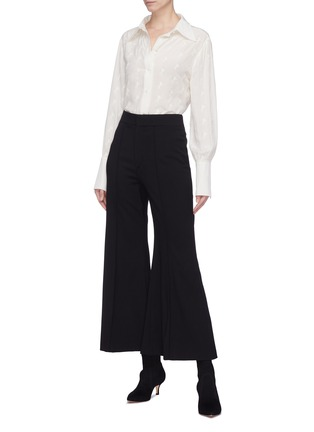 Figure View - Click To Enlarge - Chloé - Horse embroidered silk crepe blouse