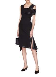 Rosetta Getty Contrast topstitching drape skirt