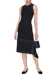 Rosetta Getty Topstitching drape hem dress