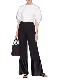Rosetta Getty Satin cuff flared pants