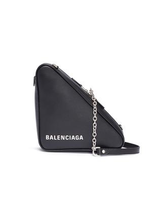 ff64fd51d99 Balenciaga  Triangle  logo print small leather shoulder bag