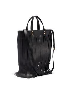 Balenciaga 'Laundry Cabas XS' logo print fringe leather tote