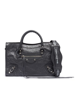 Main View - Click To Enlarge - BALENCIAGA - 'Classic City' logo strap small leather shoulder bag