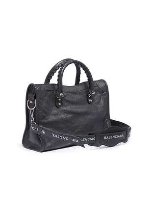 Figure View - Click To Enlarge - BALENCIAGA - 'Classic City' logo strap small leather shoulder bag