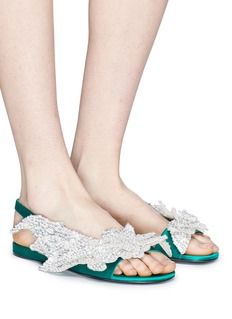 Balenciaga 'Slash' embellished satin slingback sandals