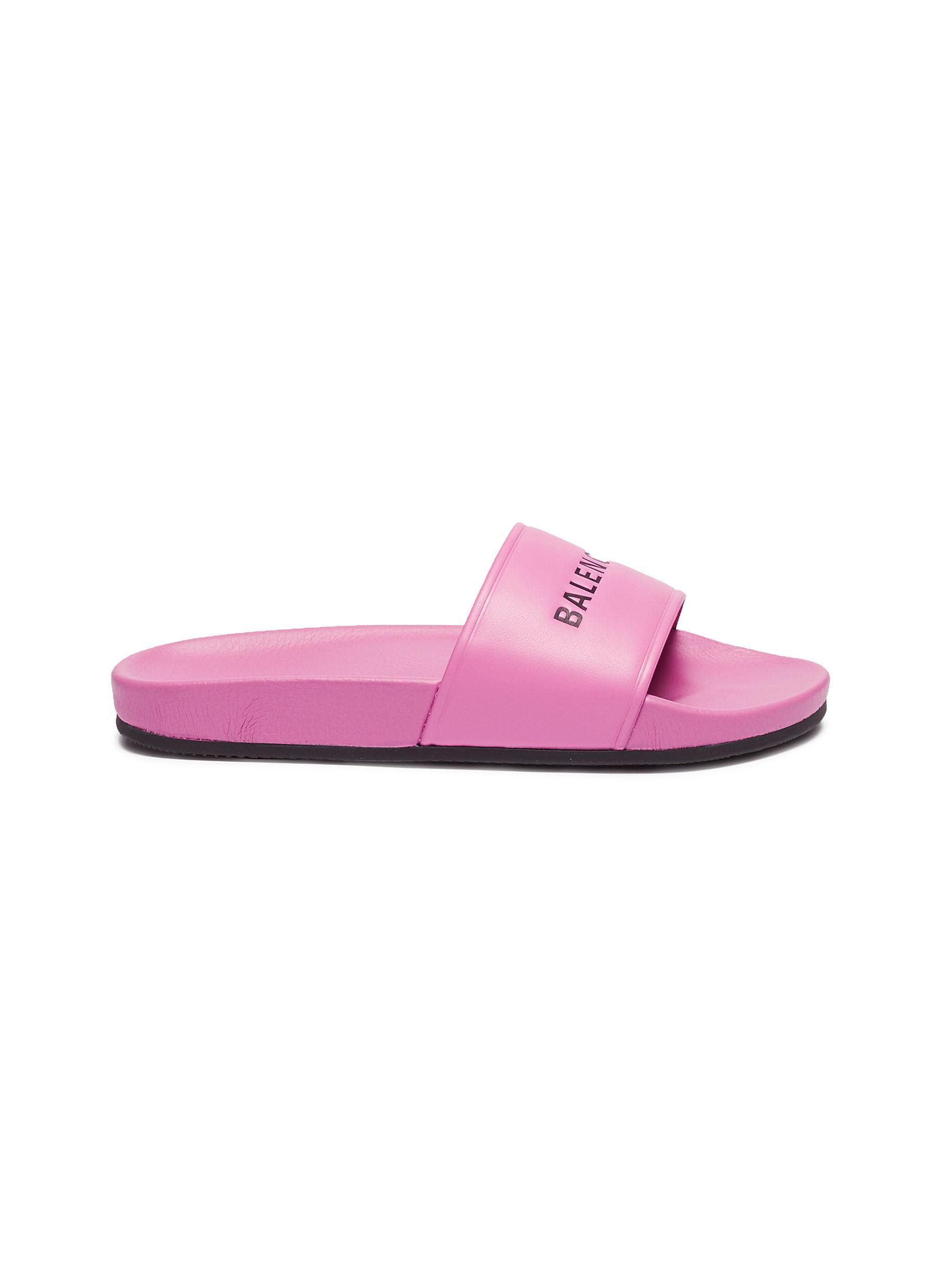 90b3c9cd6ff8 Balenciaga.  Pool  logo print leather slide sandals