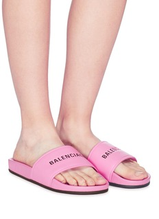 Balenciaga 'Pool' logo print leather slide sandals