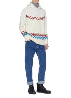 Sacai Nordic intarsia knit panel patchwork hoodie