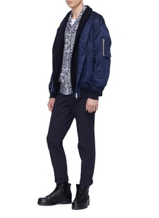 Sacai Melton blazer panel bomber jacket
