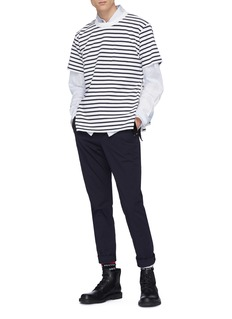 Sacai Zip outseam stripe knit T-shirt