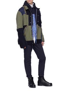 Sacai Stripe shirt panel hoodie