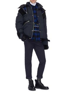 Sacai Zip velvet panel hooded down puffer jacket