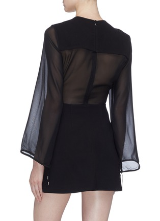 Back View - Click To Enlarge - DION LEE - Panelled lace-up front crepe dress