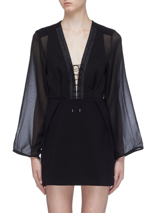 Main View - Click To Enlarge - DION LEE - Panelled lace-up front crepe dress