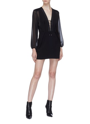 Figure View - Click To Enlarge - DION LEE - Panelled lace-up front crepe dress