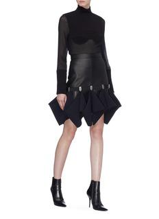 Dion Lee 'Hook' ruffle drape leather mini skirt