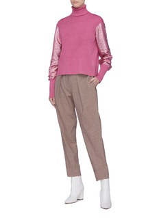 Cédric Charlier Metallic sleeve turtleneck sweater