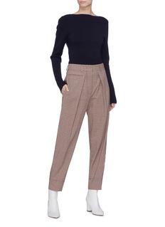 Cédric Charlier Pleated check plaid virgin wool blend pants