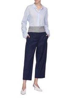 Cédric Charlier Contrast waist virgin wool herringbone culottes