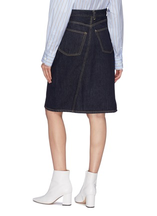 Back View - Click To Enlarge - FACETASM - Slant button front denim skirt