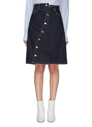 Main View - Click To Enlarge - FACETASM - Slant button front denim skirt