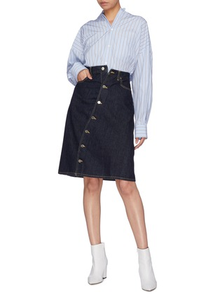 Figure View - Click To Enlarge - FACETASM - Slant button front denim skirt