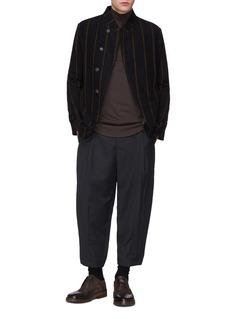 DEVOA Stripe brushed virgin wool twill shirt jacket