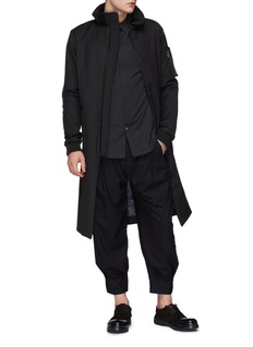 DEVOA Raglan sleeve zip placket shirt