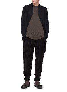 DEVOA Stripe brushed virgin wool twill pants