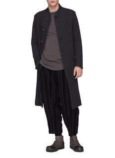 DEVOA Stripe pleated virgin wool blend pants