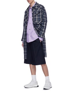 The World Is Your Oyster Tartan plaid wool twill coat