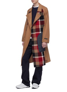 The World Is Your Oyster Belted patchwork panel wool melton coat