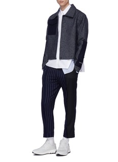 The World Is Your Oyster Colourblock panel pinstripe straight leg pants