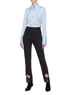 Ellery 'Bilbao' oversized collar contrast topstitching georgette blouse