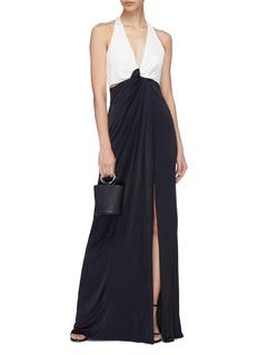 Galvan London 'Eclipse' twist front cutout halterneck gown