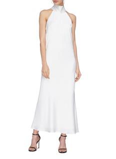 Galvan London 'Sienna' sash mock neck satin bias dress