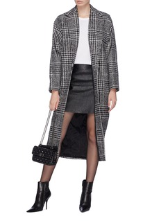 Carmen March Houndstooth check plaid open coat