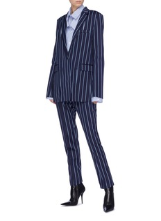 rokh Button cuff stripe wool-cotton pants