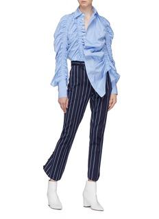 rokh Ruched ruffle stripe shirt